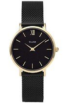 Zegarek damski Mesh Gold Black Black Cluse Minuit CL30026