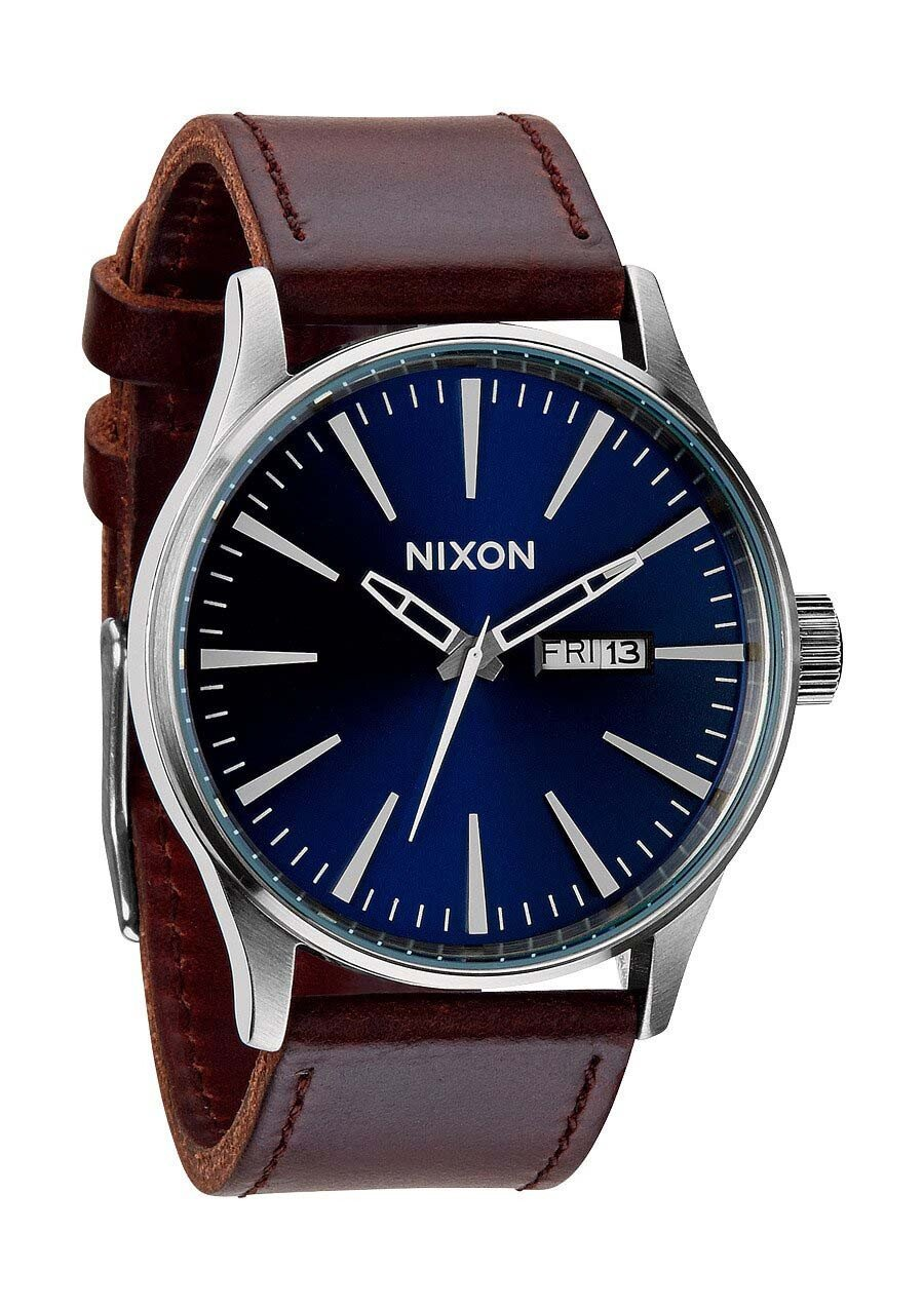 Zegarek męski Blue Brown Nixon Sentry Leather A1051524