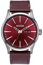 Zegarek męski Gunmetal Deep Burgundy Nixon Sentry Leather A1052073