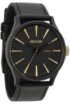 Zegarek męski Matte Black Gold Nixon Sentry Leather A1052041