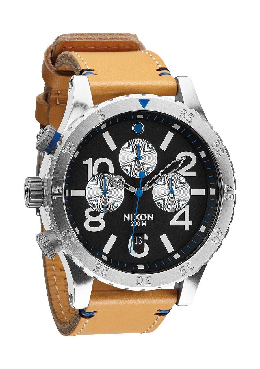 Zegarek męski Natural Black Nixon 48-20 Chrono Leather A3631602