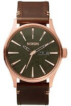Zegarek męski Rose Gold Gunmetal Brown Nixon Sentry Leather A1052001