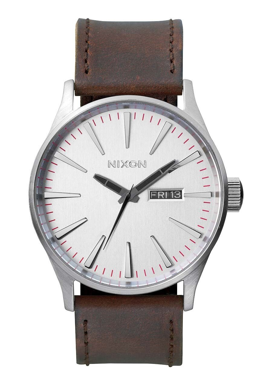 Zegarek męski Silver Brown Nixon Sentry Leather A1052113